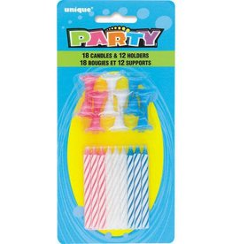 Assorted Spiral Birthday Candles with holders