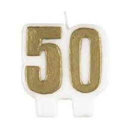 Gold Number 50 Candle