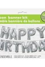 "14"" HAPPY BIRTHDAY BANNER BALLOON KIT Silver"