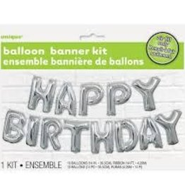 "14"" HAPPY BIRTHDAY BANNER BALLOON KIT Silver"