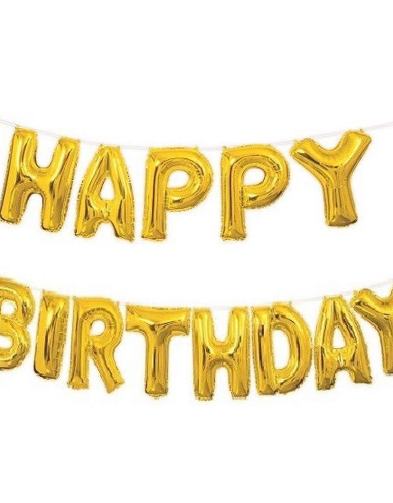 "14"" HAPPY BIRTHDAY BANNER BALLOON KIT Gold"