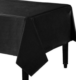 MIDNIGHT BLACK PLASTIC TABLECOVER 4.5 X 9FT