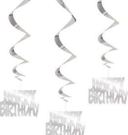 SILVER HAPPY BIRTHDAY HANGING SWIRLS (3 PK)