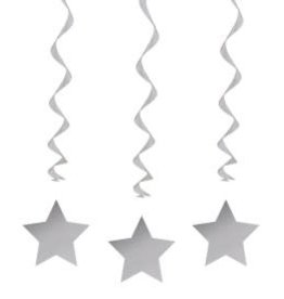 Star Swirls Hanging Decoration - Silver