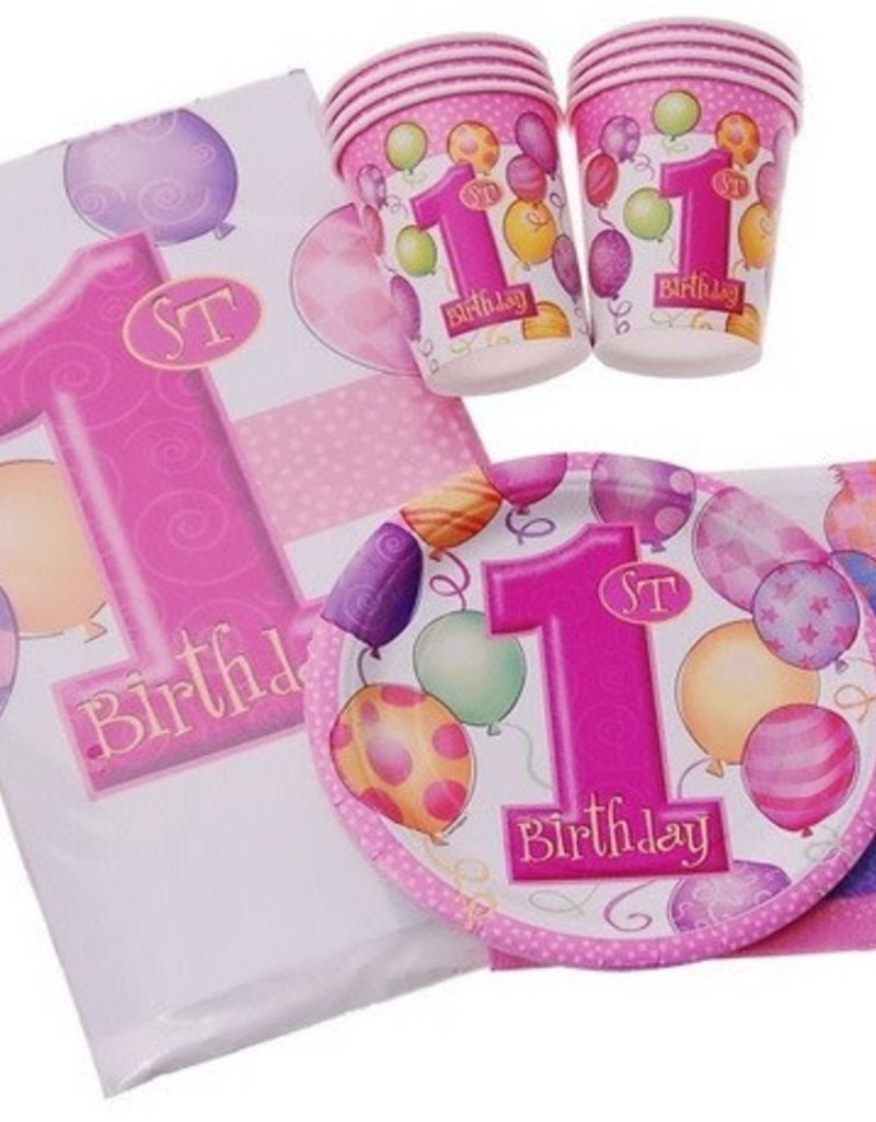 PINK FIRST BIRTHDAY BALLOONS KIT FOR 8
