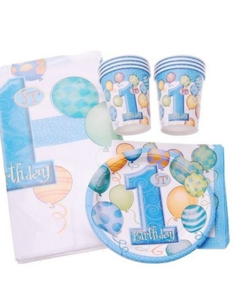 BLUE FIRST BIRTHDAY BALLOONS  KIT FOR 8