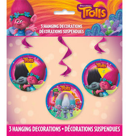 TROLLS PARTY HANGING  SWIRL DECORATIONS