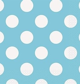 LUNCHEON NAPKINS POWDER BLUE DOTS 16PK