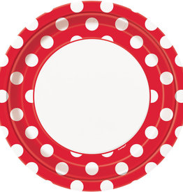 "9"" PLATE RUBY RED DOTS"