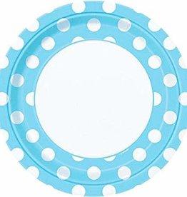 "9"" PLATE POWDER BLUE DOTS"