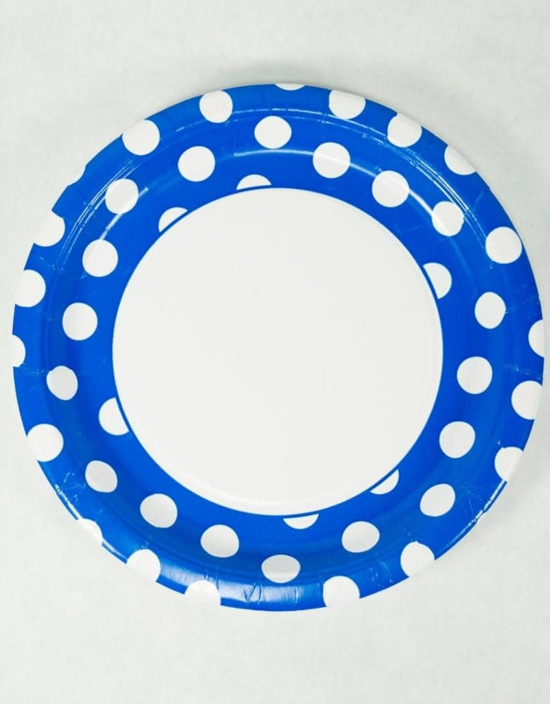 "9"" PLATE ROYAL BLUE DOTS"