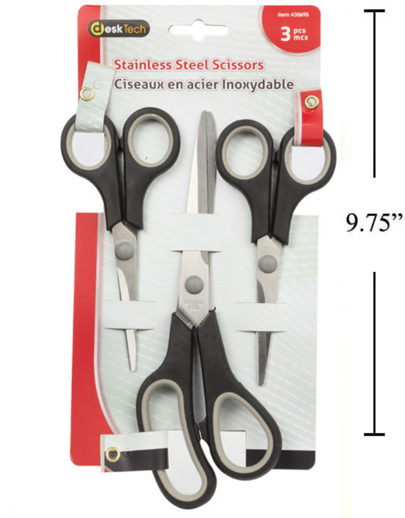 Stainless Steel Scissors - 3 Pack