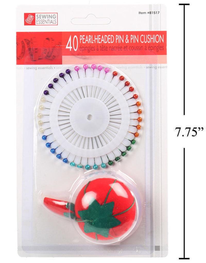 Pearlized Pins & Pin Cushion Set