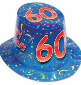 HAPPY 60TH BIRTHDAY HAT BLUE