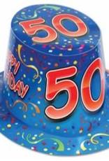 HAPPY 50TH BIRTHDAY HAT BLUE