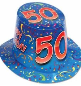 HAPPY 50TH BIRTHDAY HAT BLUE