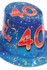 HAPPY 40TH BIRTHDAY HAT BLUE