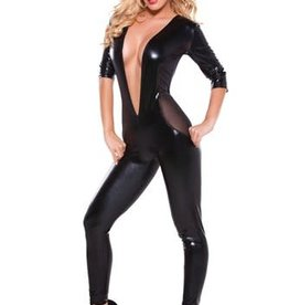 Allure Kitten Wetlook & Mesh Catsuit Open-V Front - One Size