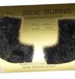 Human Hair Sideburns - Black