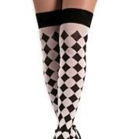 Black & White Sexy Harlequin Thigh Highs