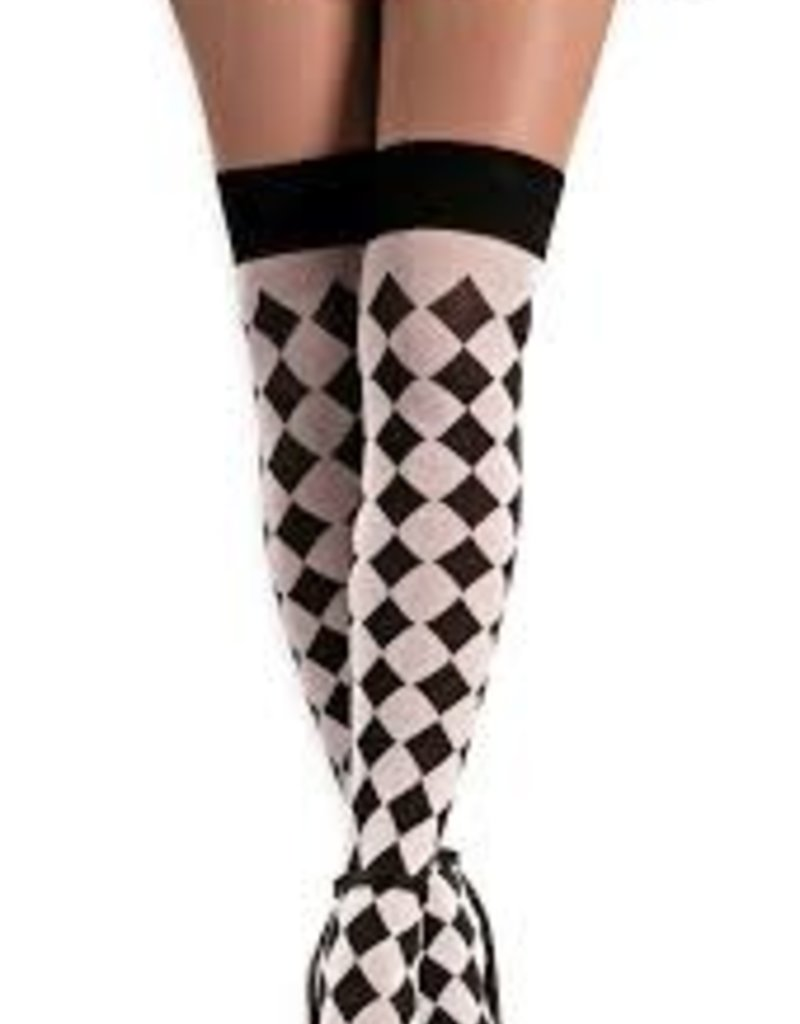 Black & White Sexy Harlequin Thigh Highs