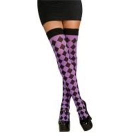 Black & Purple Sexy Harlequin Thigh Highs