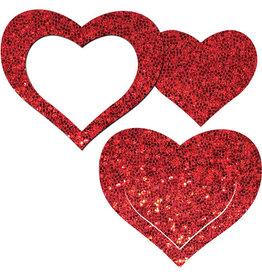 Peek-a-Boob: Red Glitter Heart Frame & Center Nipple Pasties