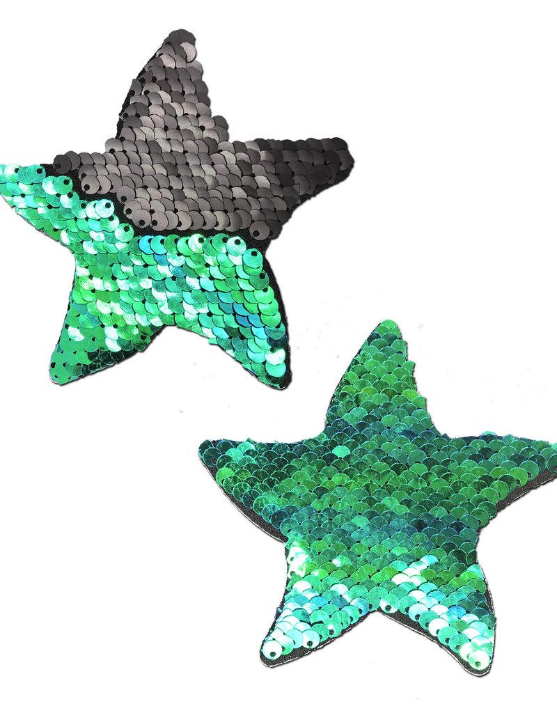Starfish Opal & Black Flip Sequin Sea Star Nipple Pasties