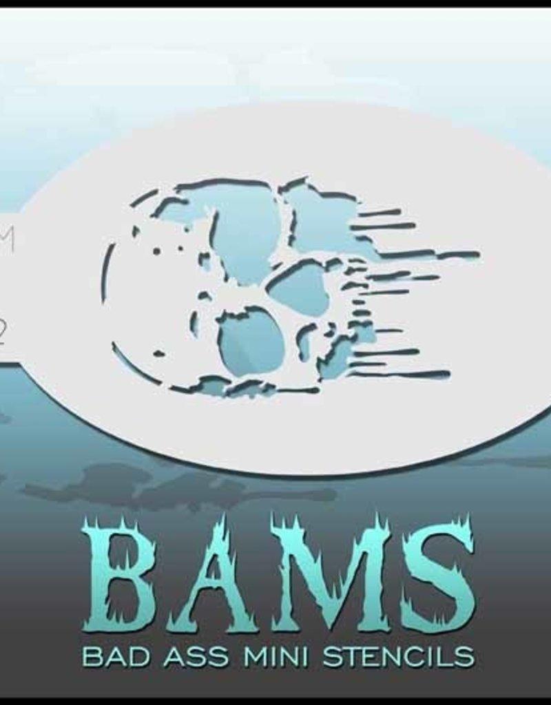 Bad Ass Mini Stencil - Dripping Skull