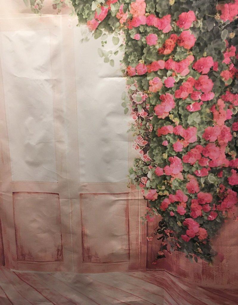 5'x3' Pink Flowers and Door Backdrop