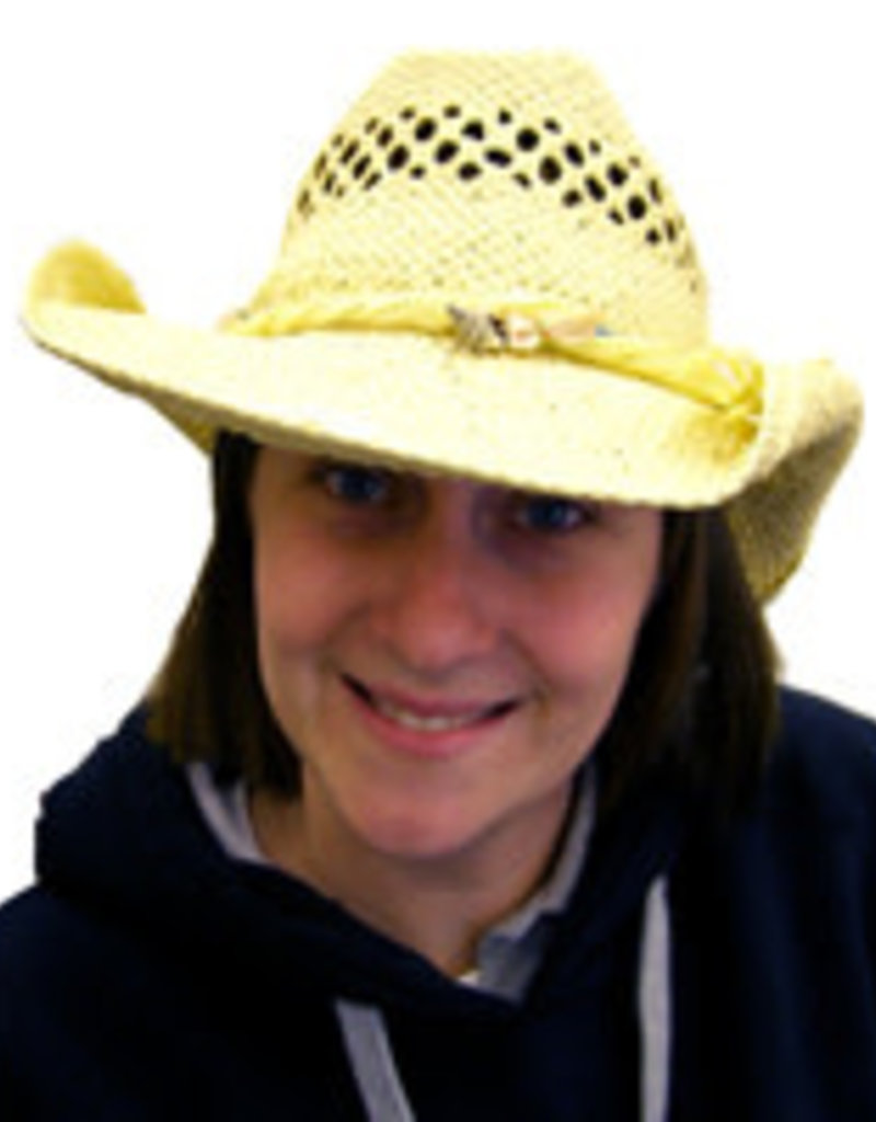 FLEXABLE STRAW COWBOY HAT WITH SHELL BAND
