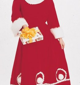 Long Velvet Mrs. Santa Dress - L