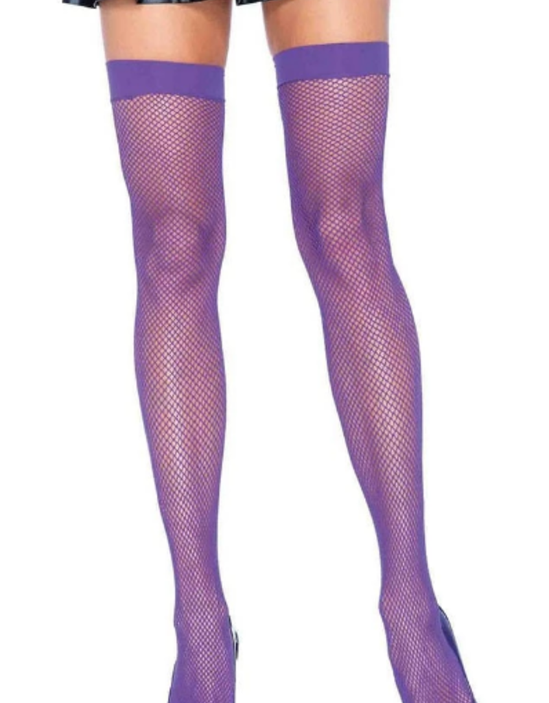 Fishnet Thigh High - Neon Purple