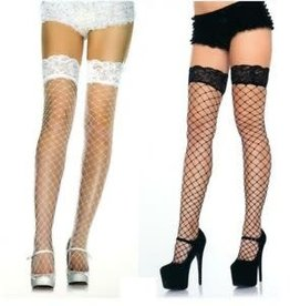 Fence Net Thigh High with Lace Top - Red