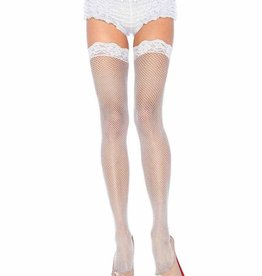 Fishnet Lace Top Thigh High - White