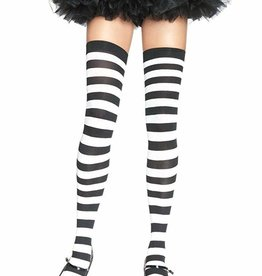 Wide Striped Thigh Highs - Black/White