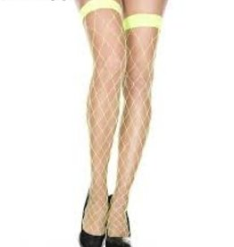 Fence Net Thigh Highs - Neon Green
