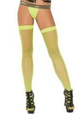 Elegant Moments Fishnet Thigh High - Neon Green