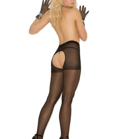 Elegant Moments Crotchless Pantyhose - Black