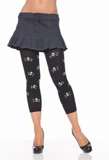 Footless Tights with Skull Print - Black