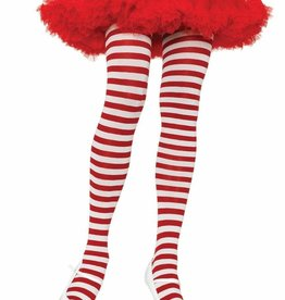 Opaque Striped Tights - Red/White