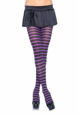 Opaque Striped Tights - Black/Purple