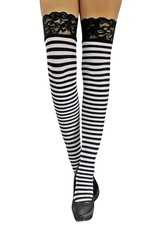 Stay Up Stripe Thigh High - Black/White