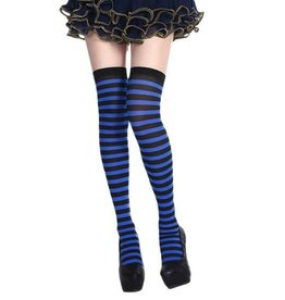 Striped Thigh High - Black/Blue