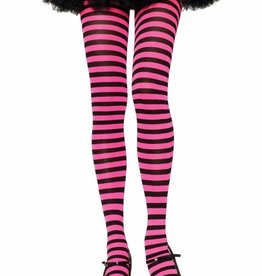 Opaque Striped Tights - Black/Neon Pink