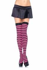 Striped Thigh High - Black/Pink