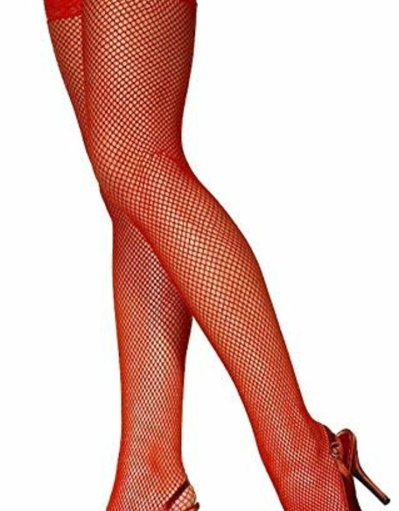 Fishnet Thigh High with Lace Top - Red