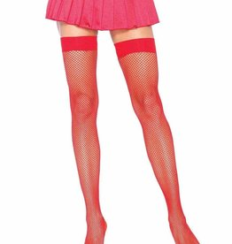 Fishnet Thigh High - Red