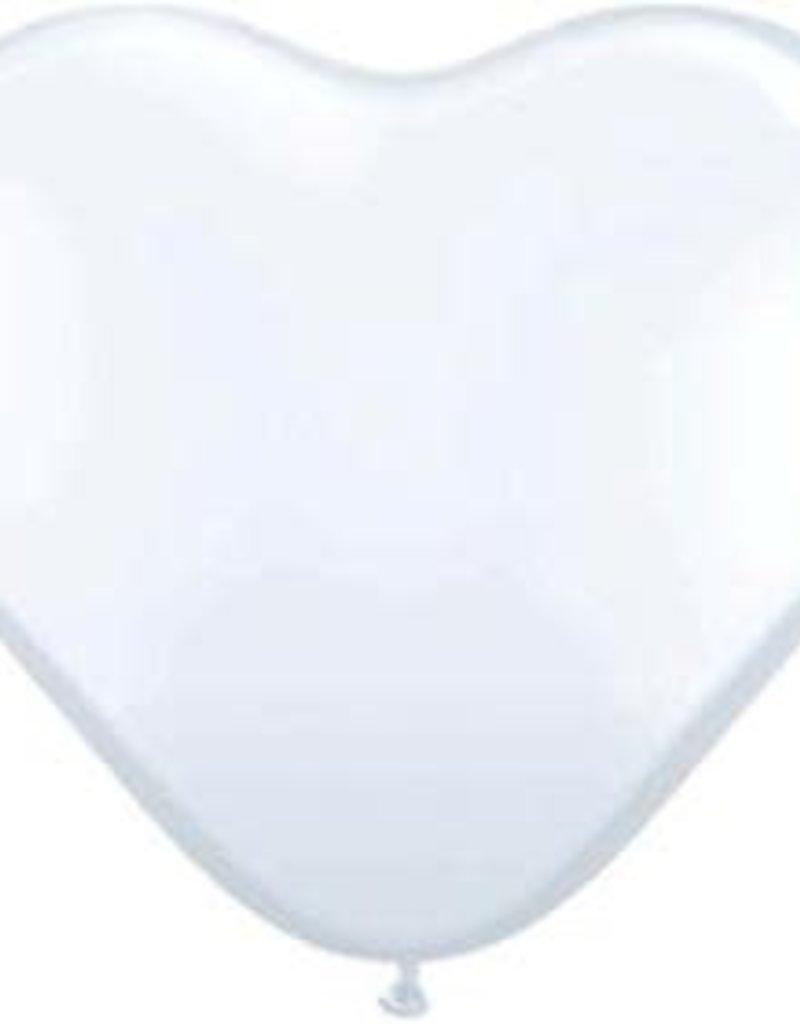 """Qualatex 15"""" White Heart 50ct"""