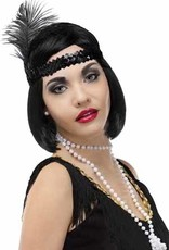 Beaded Flapper Headband - Black